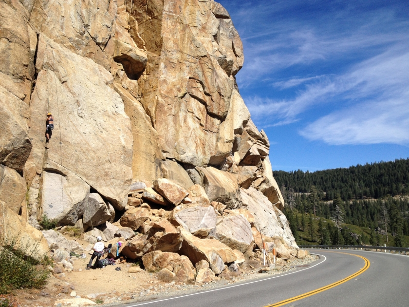 Road cut crag in Donner Summit.