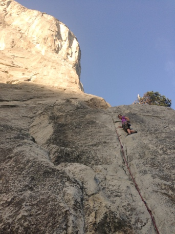 On Pine Line (5.7) my first trad lead, with El Cap looming in the background..
