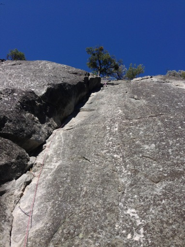 Me at the top of the first pitch of After Six on Manure Pile Buttress (5.7)