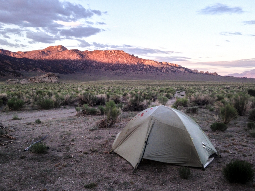 Unfortunately, some weather made us decide not to try to go for the Matterhorn and we ended up here that night - on some BLM land right in front of a lesser known eastern sierra crag called