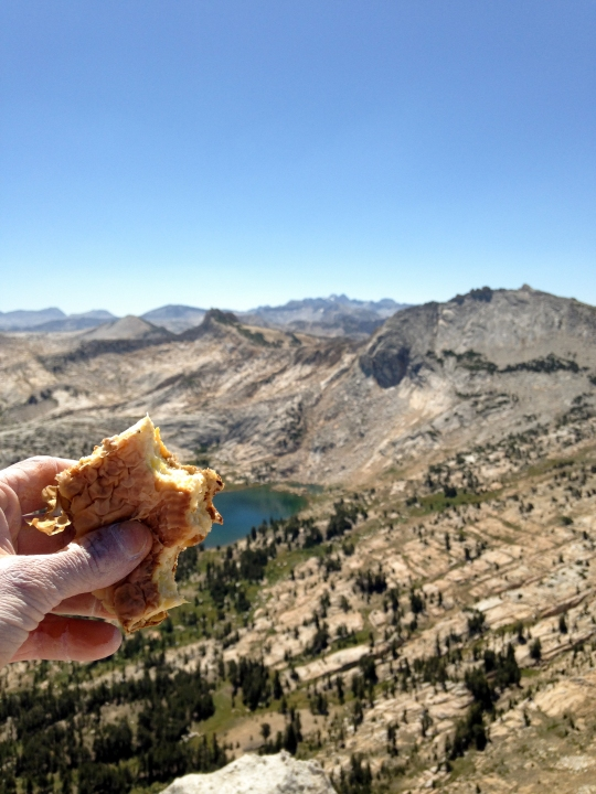 Enjoying some delicious homemade Bosnian food on the summit. (Thanks mom)
