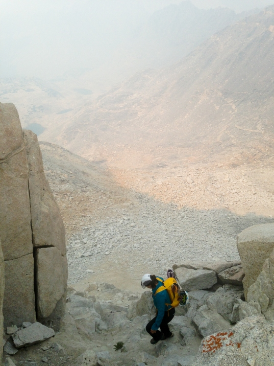 Descending down the steep scree back into the Dade Lake basin. Again, notice the smokey conditions- at one point I felt like I was on another planet.